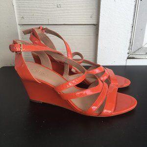 J. Crew Orange Patent Leather Wedge Sandals Size 8